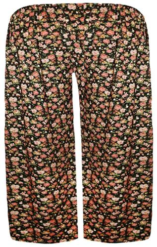 New Womens Plus Size Ethnic Printed Jersey Wide Leg Culottes Shorts 16-26