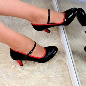 Ladies-Mid-Heel-Mary-Jane-Shoes-Glossy-Pumps-Black-Red-Court-Office-Work-Shoes