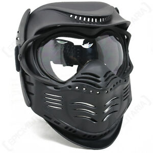 Black PAINTBALL MASK- Airsoft Full Face Protection With GOGGLES Tactical Gear | eBay