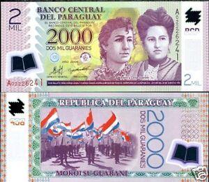 Paraguay-Billet-2000-Guaranies-2009-NOUVEAU-POLYMER-NEUF-UNC
