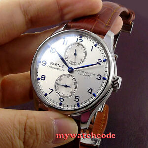 43mm-PARNIS-Silber-Zifferblatt-Power-Reserve-ST2542-Automatic-Movement-Herrenuhr-P99B