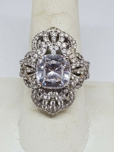 Cushion cut sterling silver ring with cubic zirconia # 2511T1