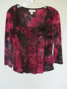 Dressbarn-Women-039-s-Size-Small-Pink-Black-Floral-3-4-Sleeve-Blouse-Shirt-Top