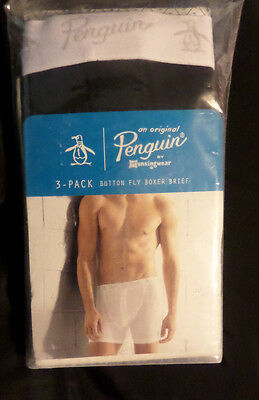 Mens New Underwear Munsingwear Penguin Button Fly Boxer Brief 3-pack Size Small