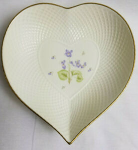 Mikasa-Tender-Violets-Remembrance-Candy-Trinket-Relish-Heart-Dish-Plate-Gold