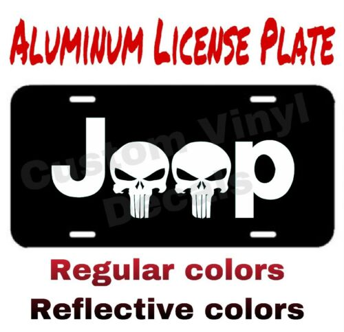 ALUMINUM LICENSE PLATE Jeep Skull many colors//reflective colors