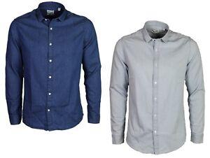 Only-amp-Sons-Mens-Denim-Shirt-Nevin-Light-Blue-Denim-Blue-Casual-Long-Sleeve