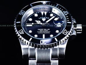 NEW-Legend-Mens-200m-Deep-Blue-Diver-Midnight-Black-Dial-Miyota-Quartz-SS-Watch