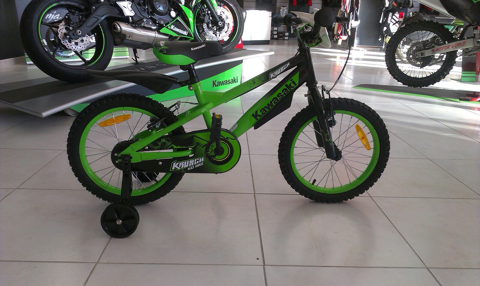 BICICLETTA MOUNTAIN BIKE MTB BIKE KAWASAKI BMX KRAFFITI 16'' color green-black