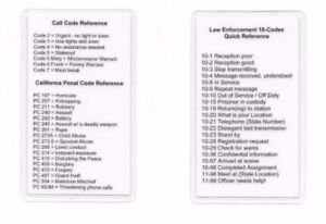 Details about Radio 10, Call, Penal Code / Codes Reference Card / Sheriff /  Police / Marshal