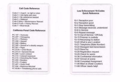 police 10 code