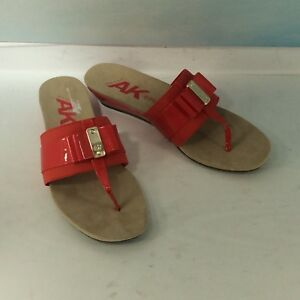 b18795c85aa Details about Anne Klein Imperial NWB Women s Red Wedge Slide Slip on Thong  Sandals Size 8.5M