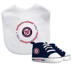 Washington-Nacionales-Bebe-Set-Babero-amp-Zapatos-Oficial-MLB-Bpa-Libre