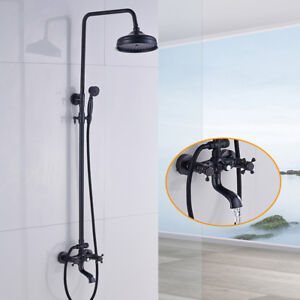 Oil Rubbed Bronze Bathtub Shower Faucet Sets Wall Mount Complete