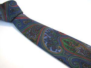 BULLOCK-amp-JONES-Tie-3-25-034-Navy-Blue-Green-Vibrant-Bold-Paisley-Silk-Necktie