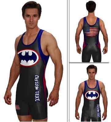 Superhero wrestling singlet, sublimated bat singlet includes custom text