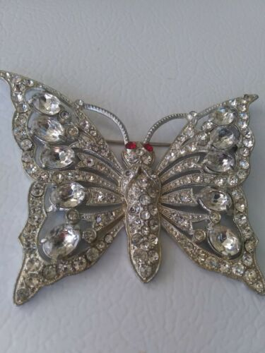 Vintage Staret Rhinestone Butterfly Brooch Made By