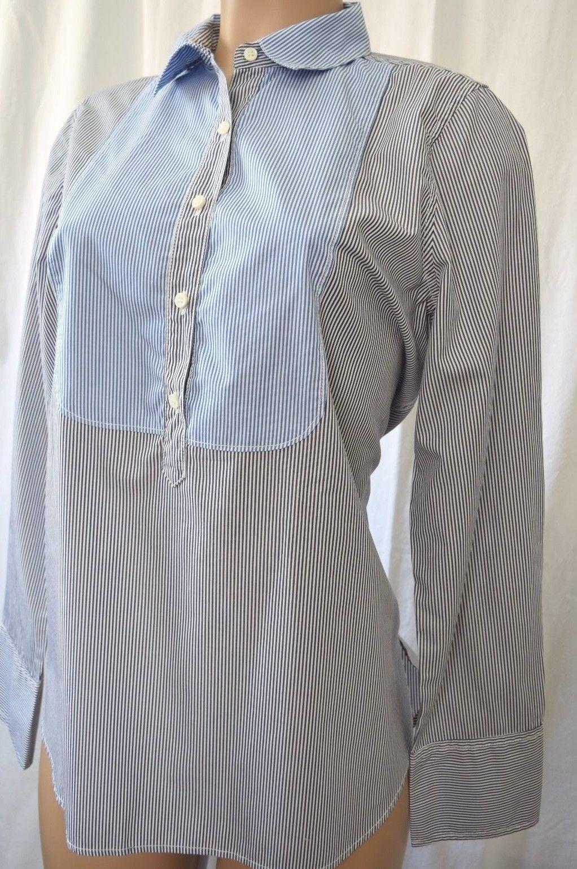 J Crew Blau-schwarz Weiß Striped Front Buttons 100% Cotton Blouse Top Shirt 10