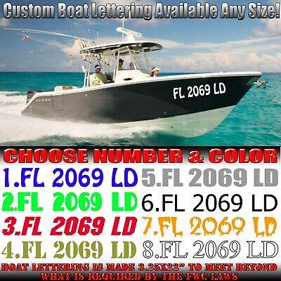 Custom Boat Registration Numbers Vinyl Lettering PWC Water Decals Vessel Jet Ski