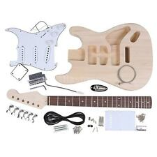 Unfinished ST Style Electric Guitar Basswood Body Maple Neck DIY Kit Set Z9H4