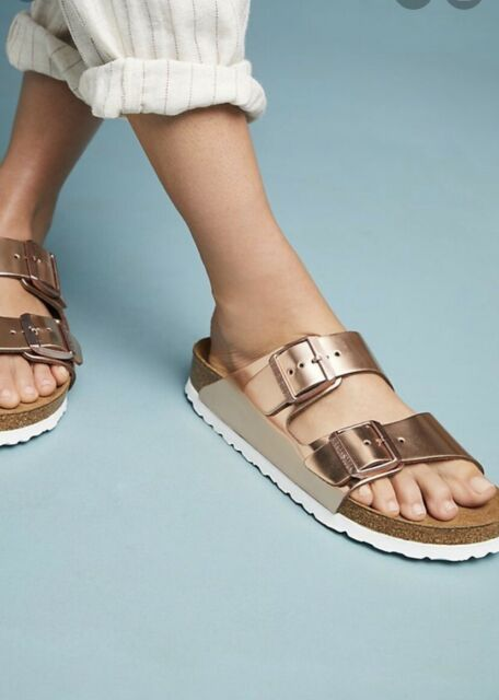 New Birkenstock Women's Arizona Metallic Sandals Soft FootBed Narrow Fit sz 40