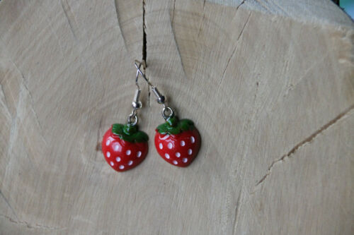 Karneval Ohrringe Erdbeere 2 Kostüm Fasching Frucht Strawberry Erdbeeren