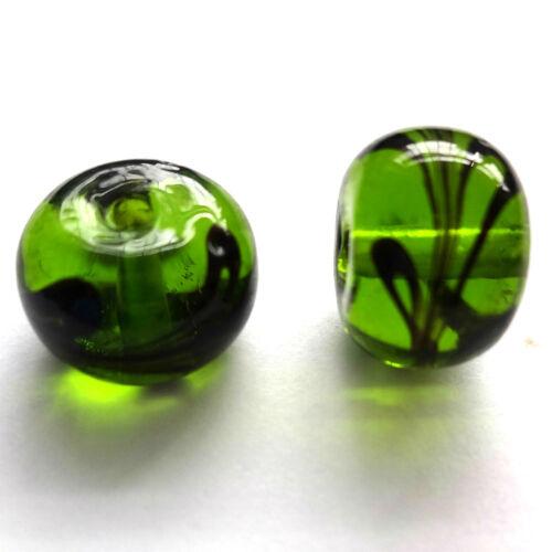 Murano Cristal 10x8mm Perlas Verde 20