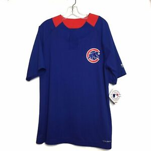 Majestic-Chicago-Cubs-MLB-Mens-Blue-Short-Sleeve-1-4-Button-Jersey-Shirt-Large-L