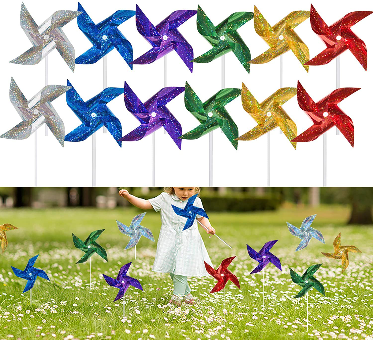 Tsocent Pinwheels (Pack of 12) - Toy Wind Spinners and Party Favors Gifts for Ki