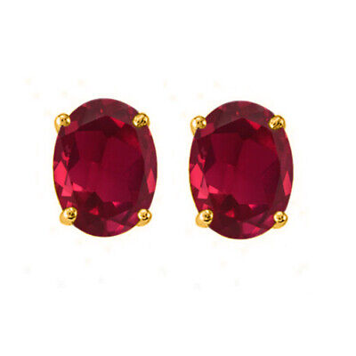 2.5 Cttw Heart Shape Simulated Ruby Stud Earrings in 14k Gold Over Sterling Silver