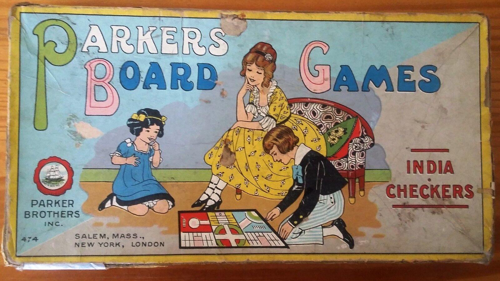 Extrêmement rare-Parkers Board Games-Inde & dames -  474 - très vieux