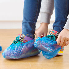 100× Disposable Plastic Shoe Covers Waterproof Boot Carpet Clean Overshoe NoORMM