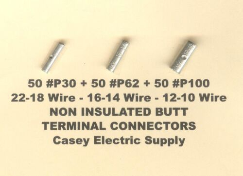 150 Non Insulated BUTT Connector Uninsulated #22-18,16-14 & 12-10 Wire AWG USA