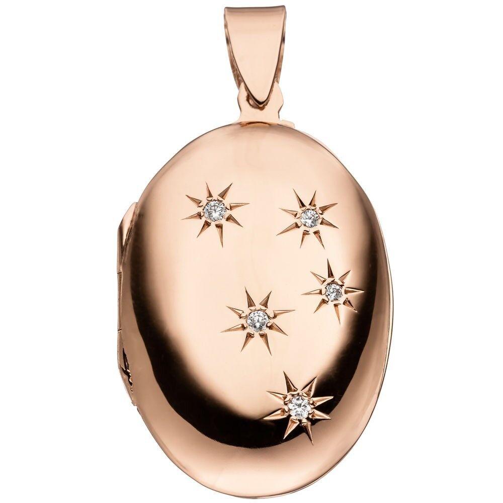 Medaillon Amulett zum Öffnen für 2 Fotos 5 Zirkonia oval 925 silver redvergoldet