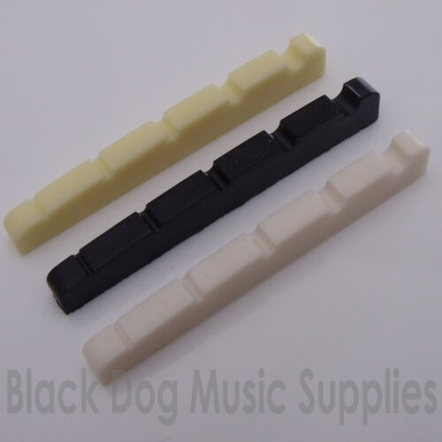white or ivory 5 string bass guitar top nut 45mm x 3.5mm in black