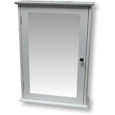 White Wooden Mirror Door Indoor Wall Mountable Bathroom Cabinet Shelf Cupboards