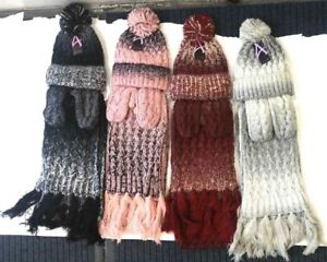 ef847532a706af Womens Ladies Wooly Thick Knited Hat Scarf and gloves Set knitted ...