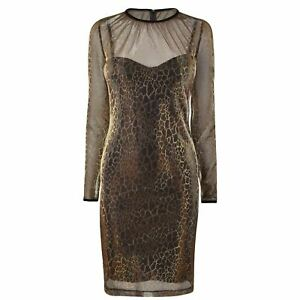 Just-Cavalli-Metallic-Leopard-Dress-Long-Sleeves-Womens-Ladies-UK-Size-8-3