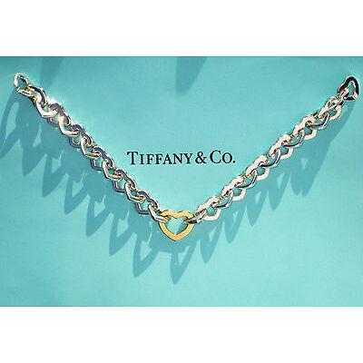 Tiffany & Co 18ct 18K Gold & Sterling Silver Heart Link Bracelet