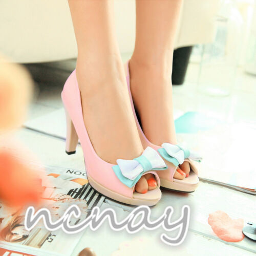 Women Bowknot Sweet Pumps Peep toe High Heels Platform Party Wedding Shoes Heels
