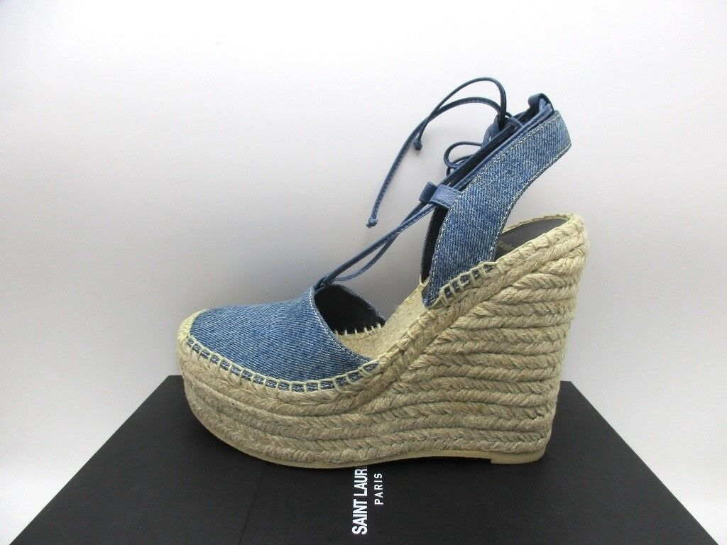 Saint Laurent YSL Espadrille 75 Wedge Blue Denim Sandals 37 7