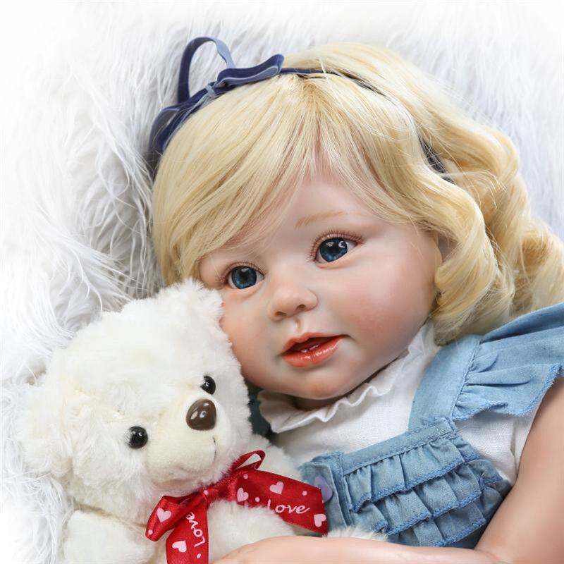 28 Pollici realistici Capelli Ricci Reborn Ragazze Bambola fatta a mano in silicone baby doll Regalo &
