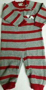 Sweater-Outfit-One-Piece-Knit-6-Months-Gray-Red-Striped-Baby-Boys-CHEROKEE
