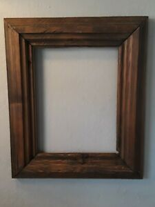 ANTIQUE PRIMITIVE Prim farm solid rustic wooden PICTURE FRAME 9×12 dark finish