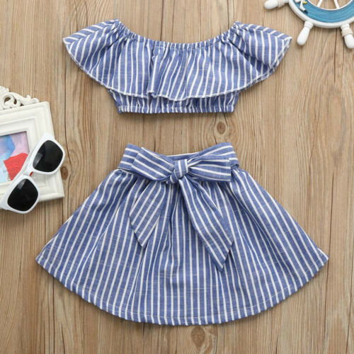2Pcs Toddler Kid Baby Girl Off Shoulder Top Mini Skirt Dress Outfits Set Clothes