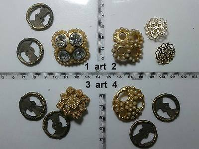 Entusiasta 1 Lotto Bottoni Gioiello Strass Smalti Perle Vetro Buttons Boutons Vintage G13 Una Gamma Completa Di Specifiche