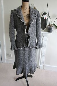 HOBBS-UK-14-Grey-Wool-Tweed-Pencil-Skirt-Suit-Ruffle-Frayed-Hem-Large-Quirky