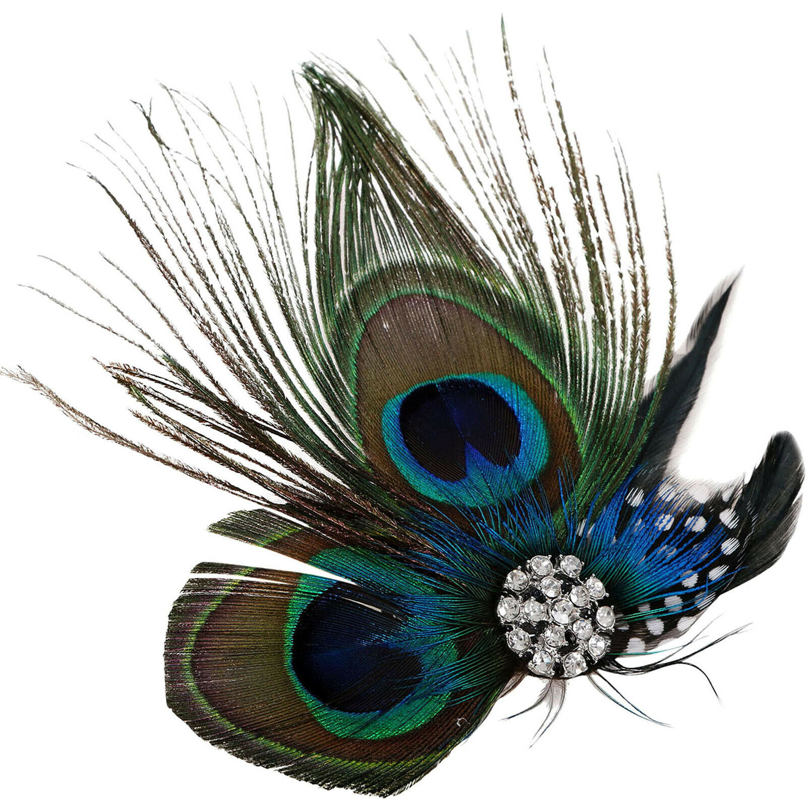 Vintage Women Peacock Feather Bridal Wedding Hair Clip Headpiece Hair Accessory