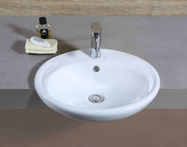 Bathroom Wash Basin Sink Semi Countertop Cloakroom Washing Half Under Bowl 662