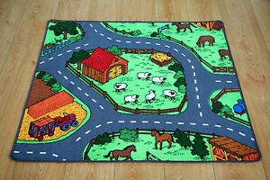 farm yard children's rug kid's animal village road play mat | ebay